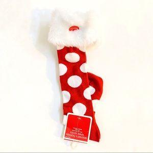 Knee high white fuzzy banded red polka dot socks